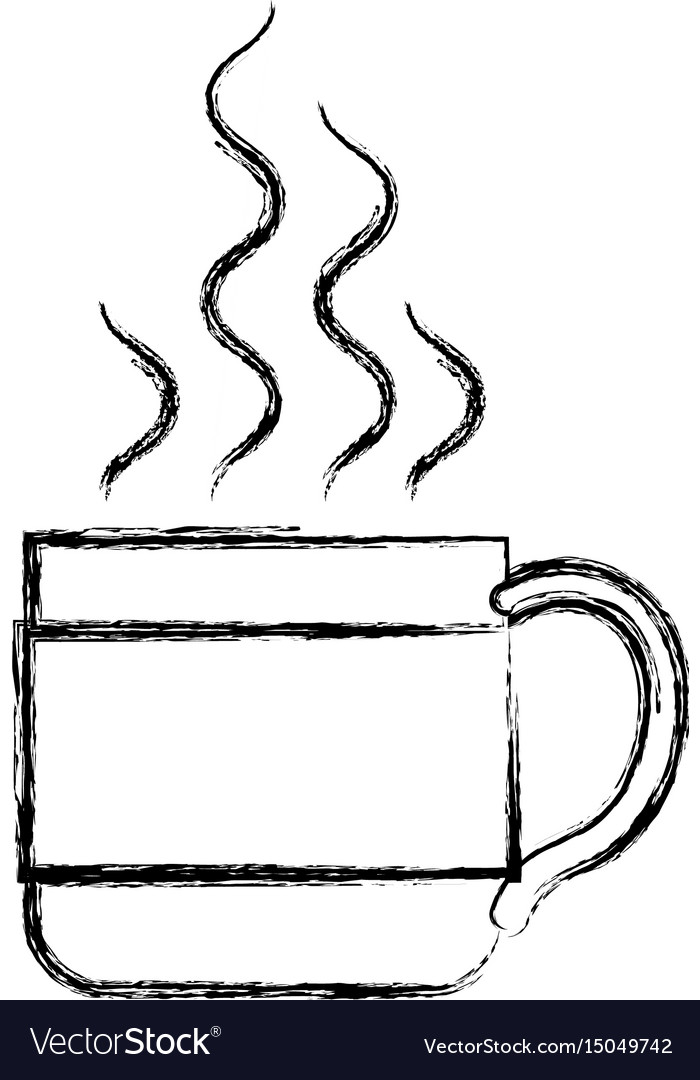 Monochrome blurred silhouette of hot coffee cup