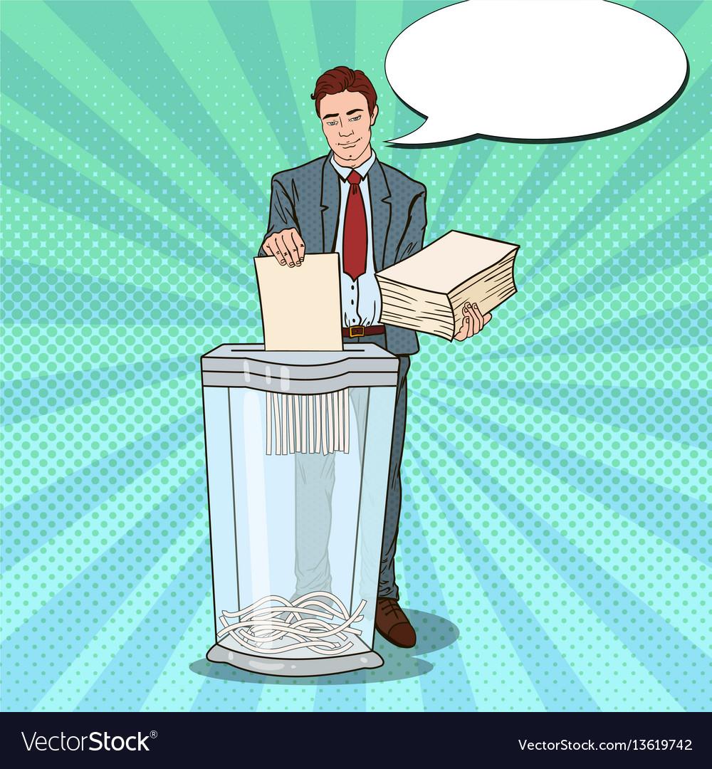 Pop art businessman destroying paper documents vector image