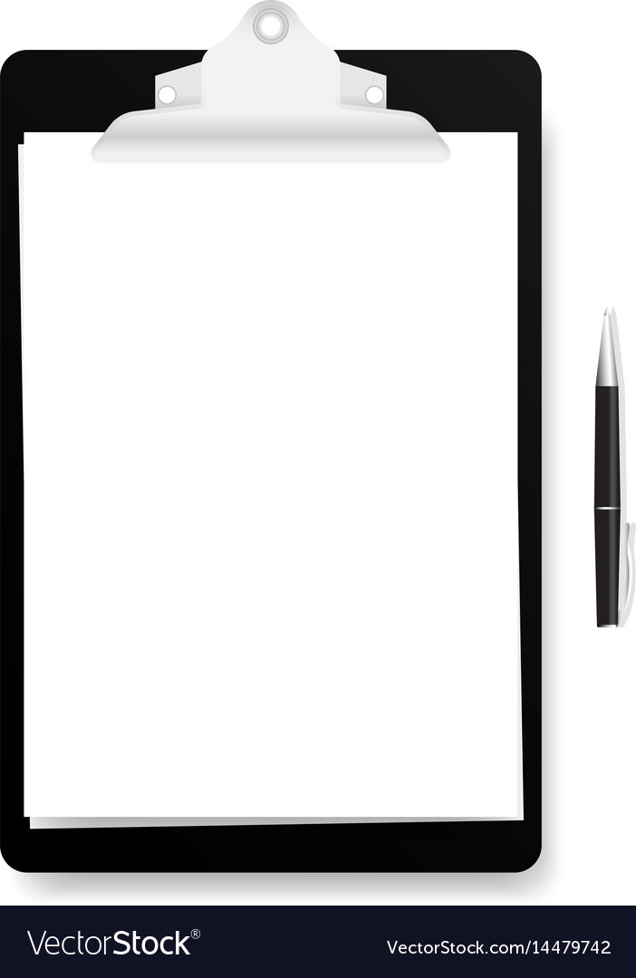Realistic black clipboard with white empty page