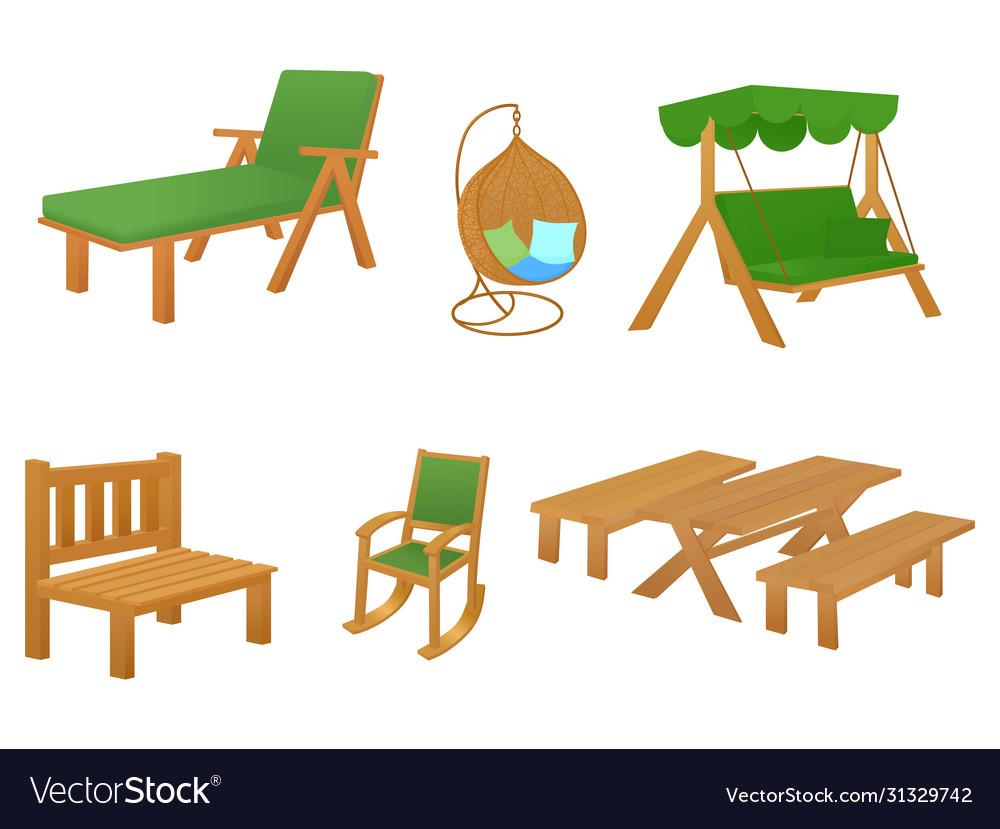 Set Wooden Cartoon Garden Furniture Royalty Free Vector