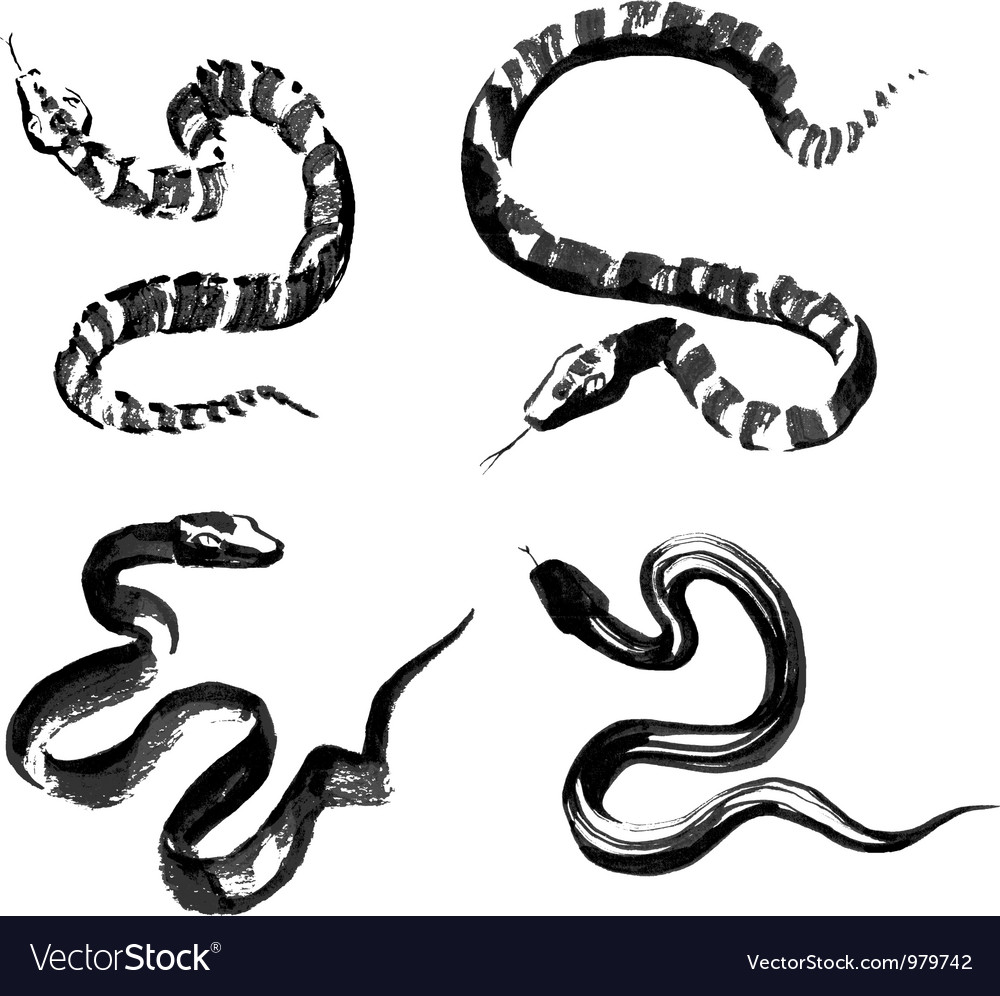 Snakes in traditional Chinese ink painting