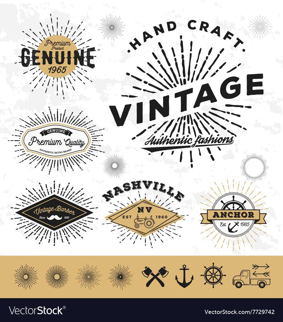 Vintage sunburst logo elements vector image