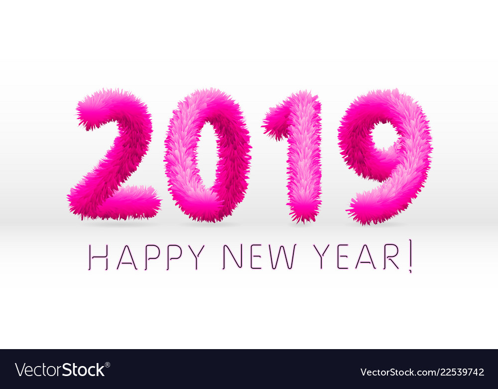 Wooly pink hairy shaggy wool 2019 happy new year