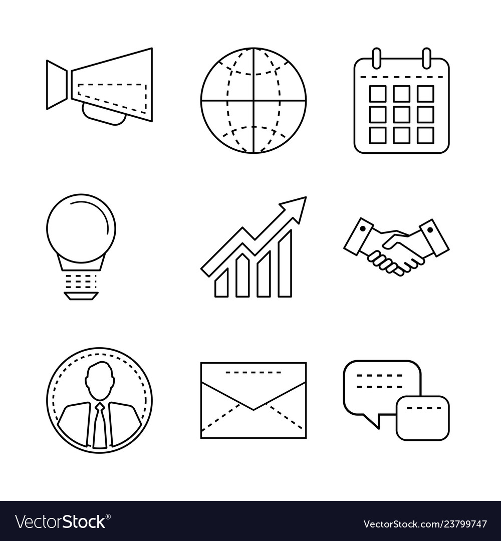 Business icons set with thin line elements
