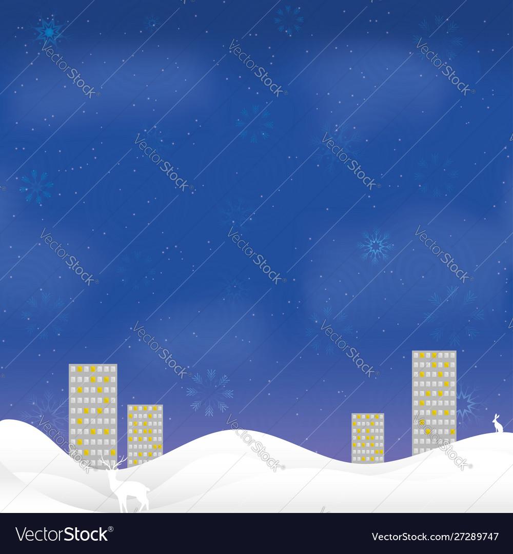 Christmas night card high-rise houses snow border
