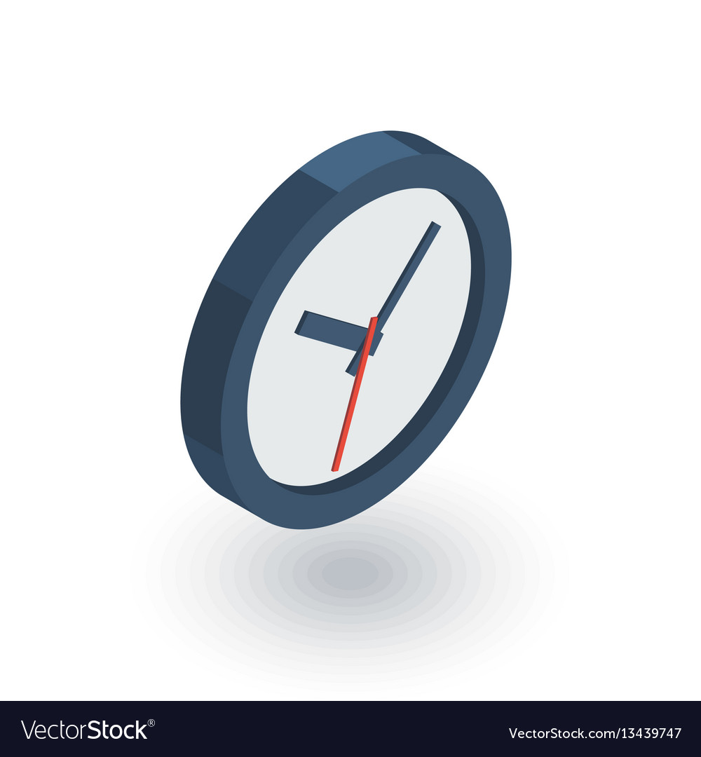 Clock time watch isometric flat icon 3d