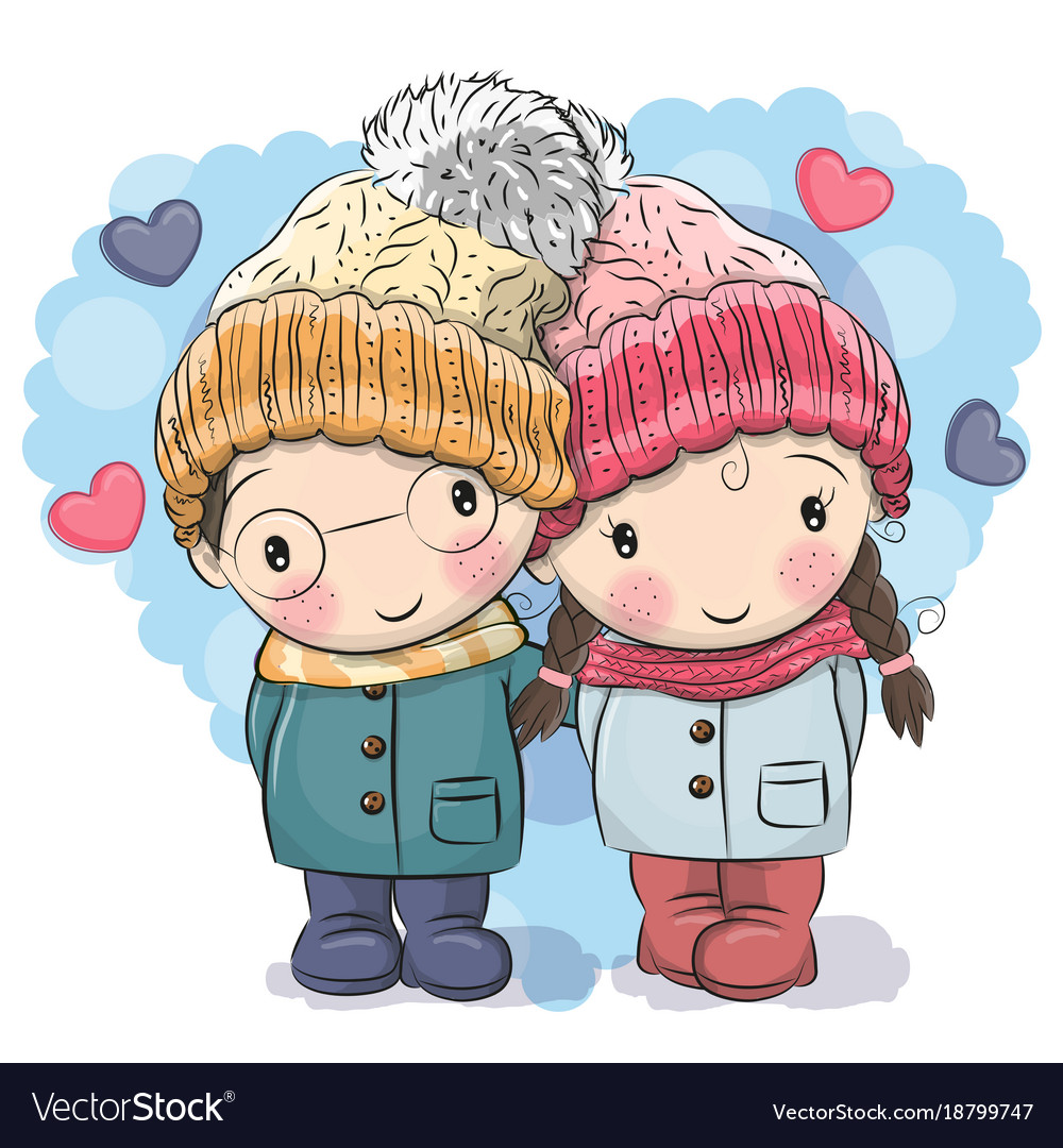 cute winter cute boy and girl royalty free vector image