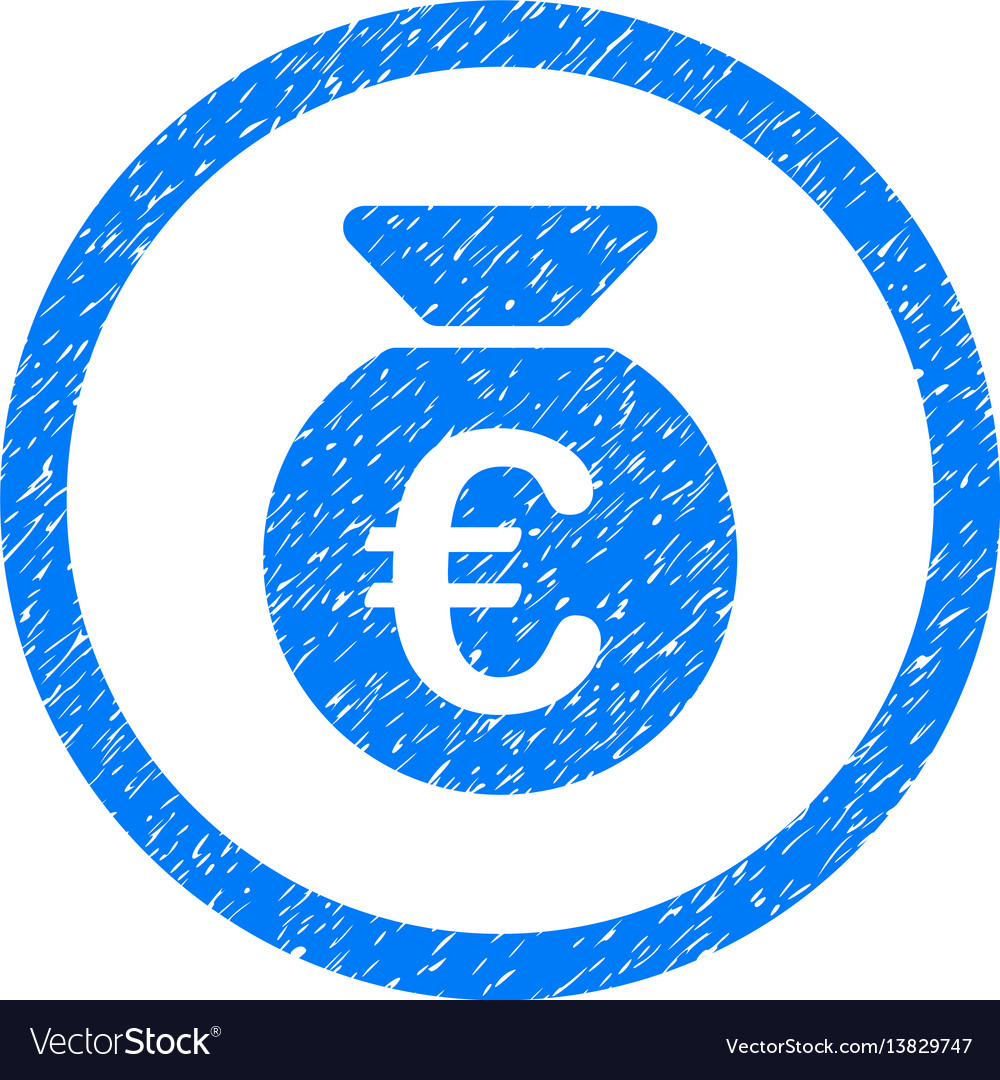 Euro money bag rounded icon rubber stamp vector image