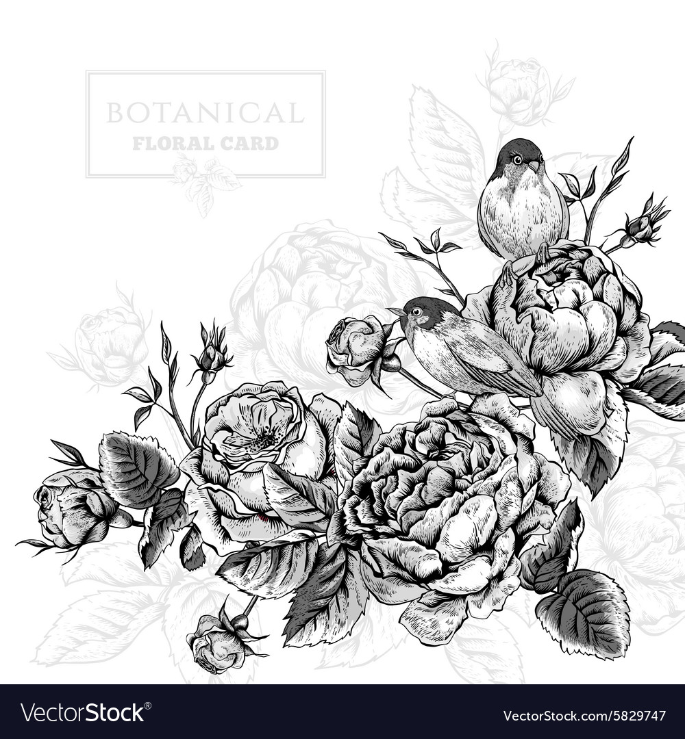 Floral card in vintage style with blooming english