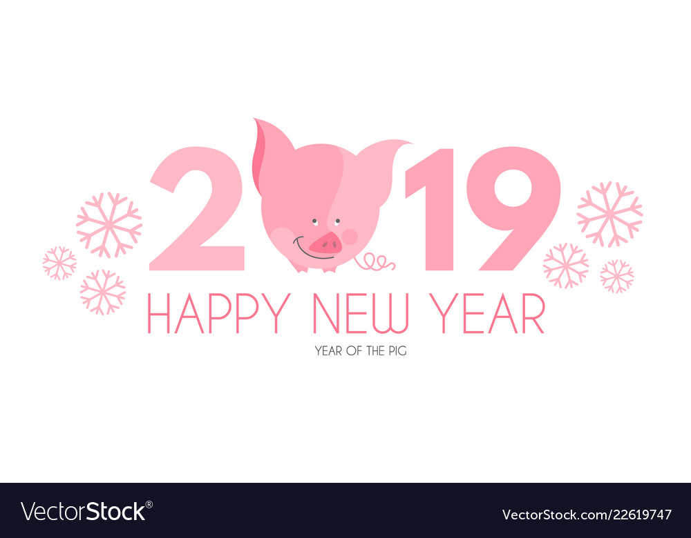 Happy new 2019 year template with cartoon pig