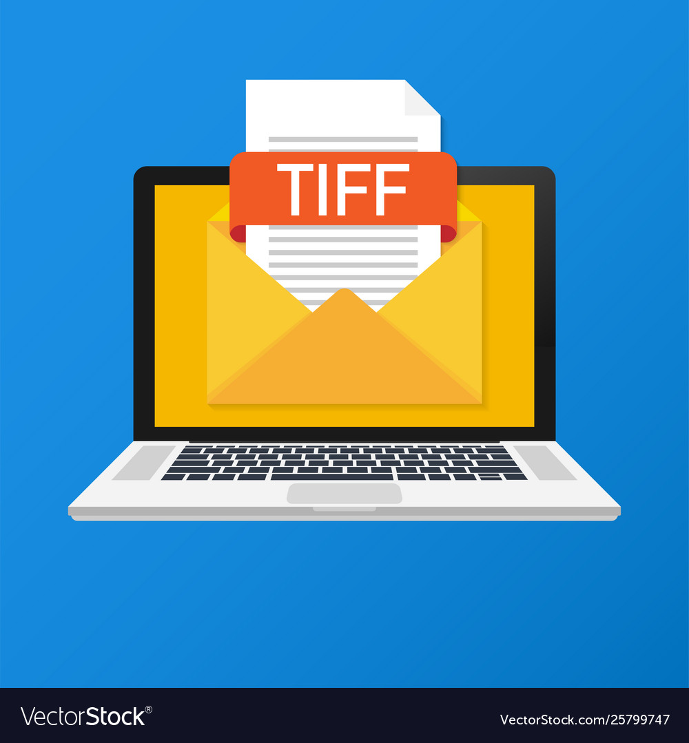 Laptop with envelope and tiff file notebook and
