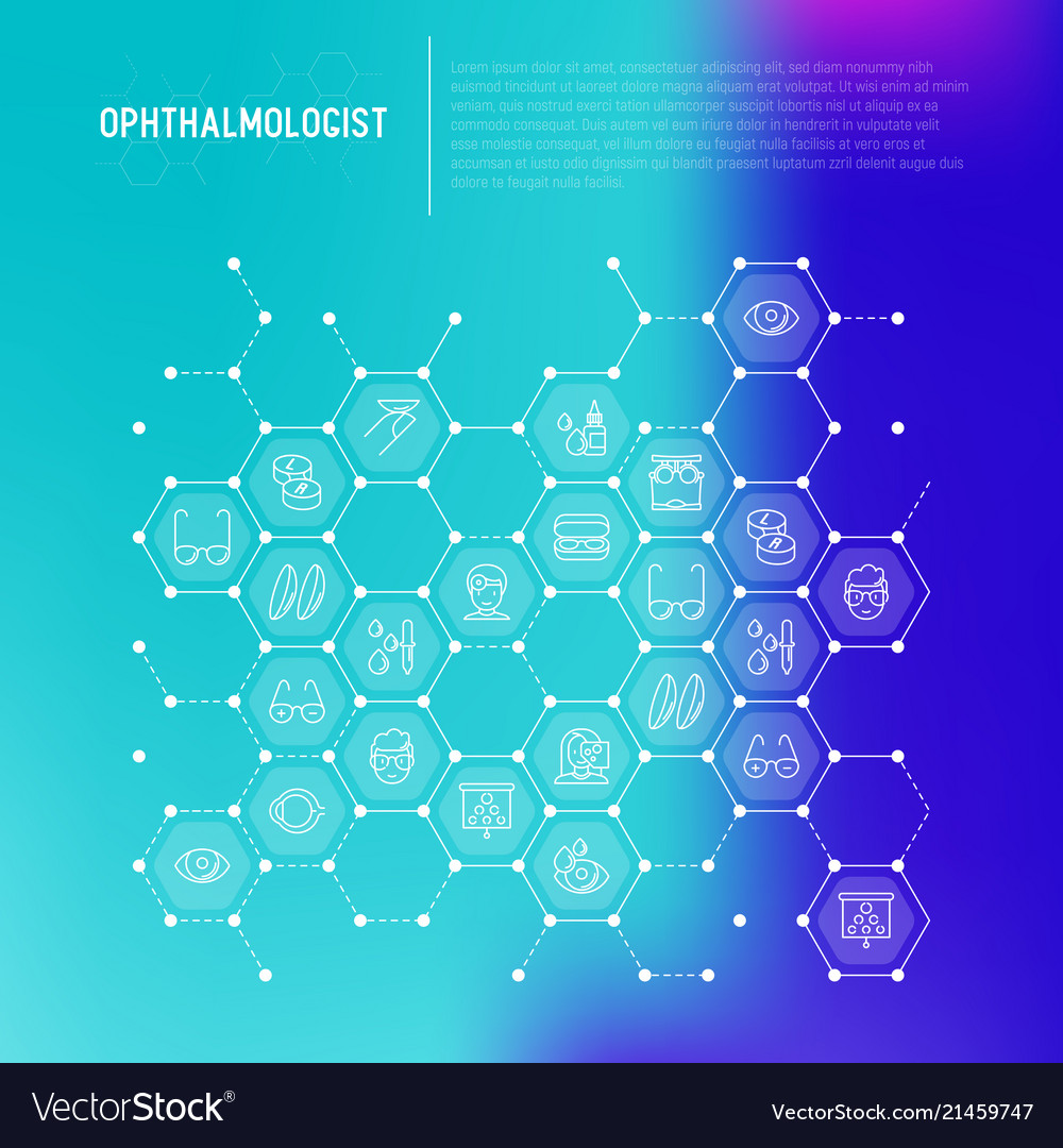 Ophthalmologist concept in honeycombs