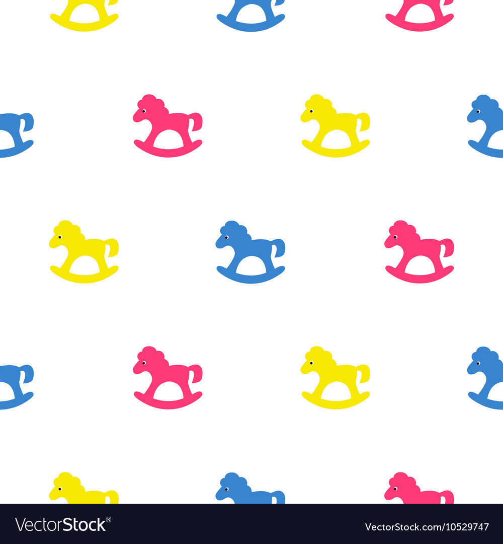 Rocking horse blue pink and yellow kid pattern