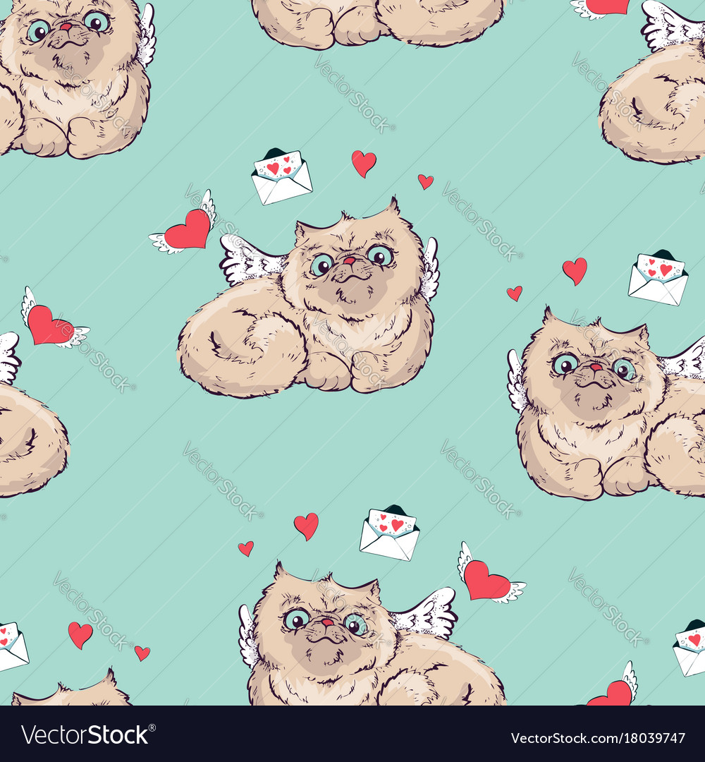 Seamless pattern background angel cat