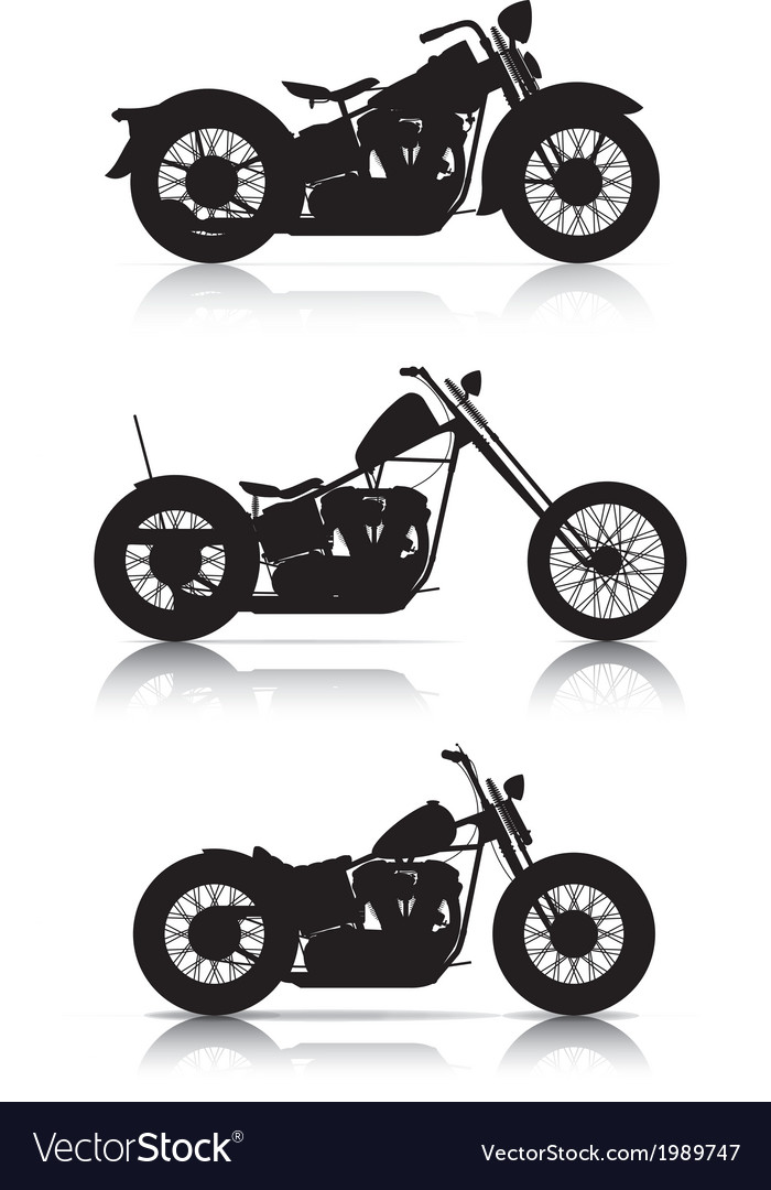 Set motorcycle silhouettes