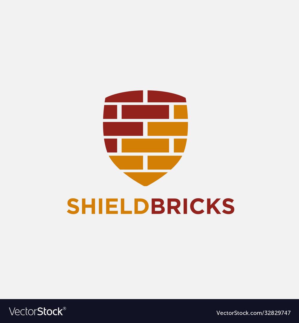 Shield bricks logo icon template