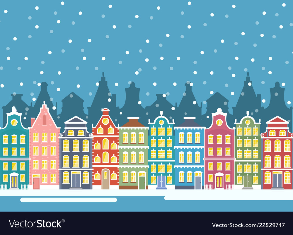 Winter city houses in vector
