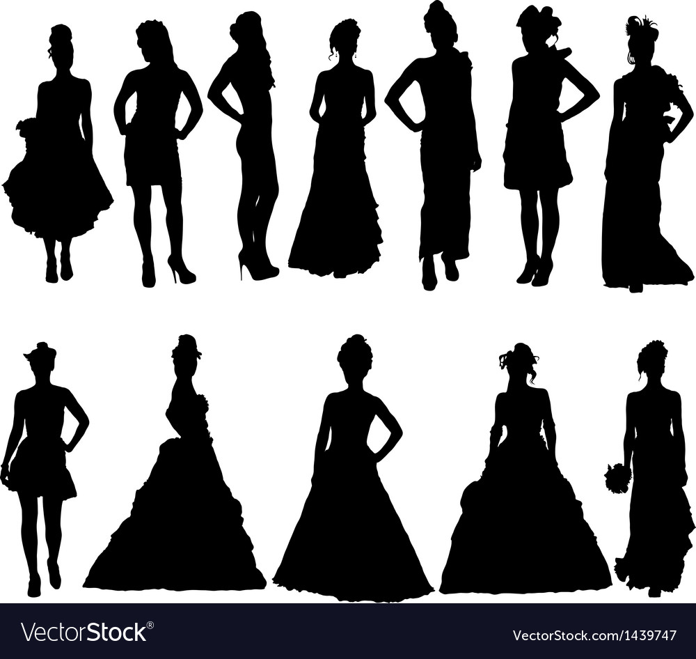 Women silhouettes in various dresses Royalty Free Vector