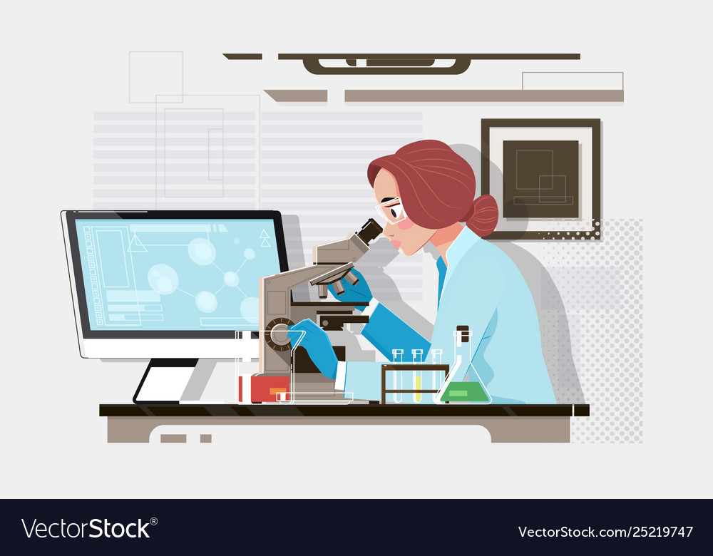 Young scientist looking through a microscope in a