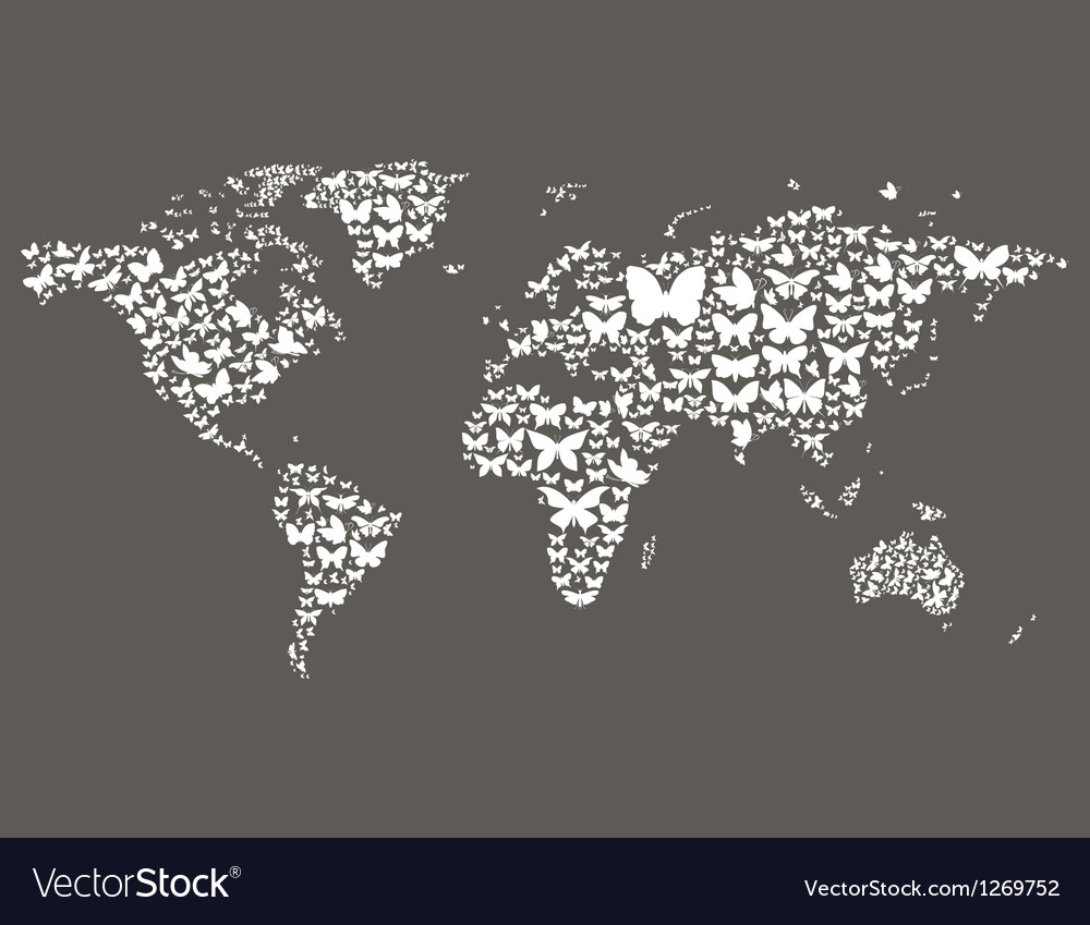Butterfly World Map Royalty Free Vector Image Vectorstock