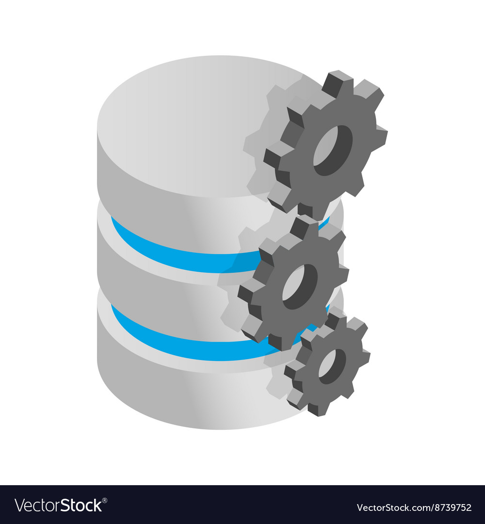Database symbol and gears icon isometric 3d style vector image