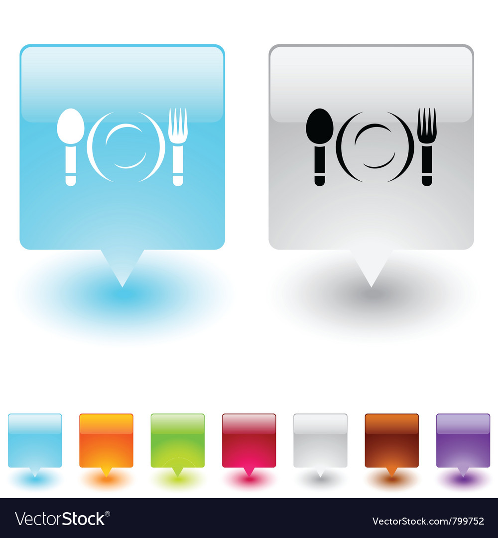 Dinner square button vector image