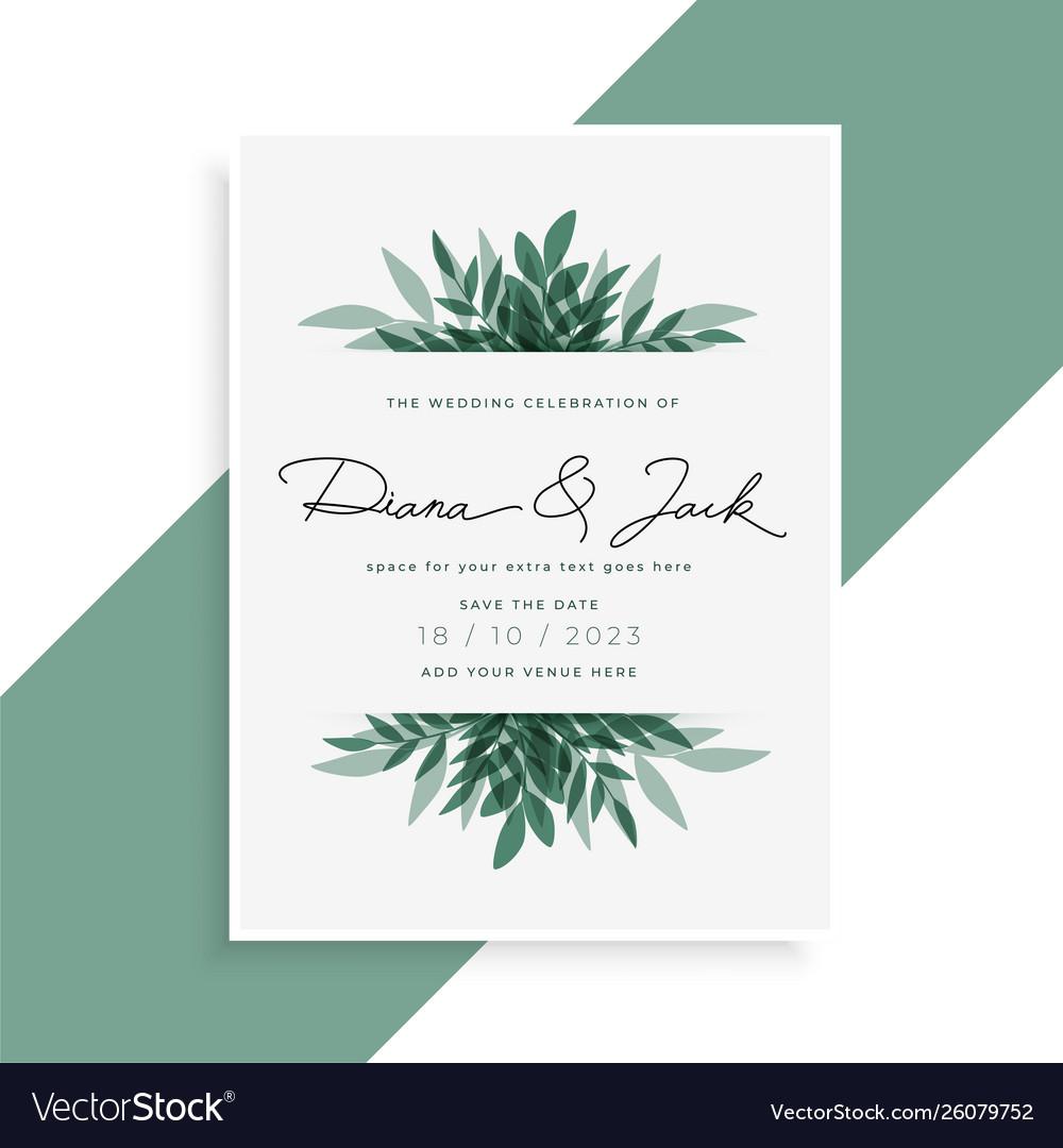 Elegant Leaves Wedding Invitation Card Design Vector Image
