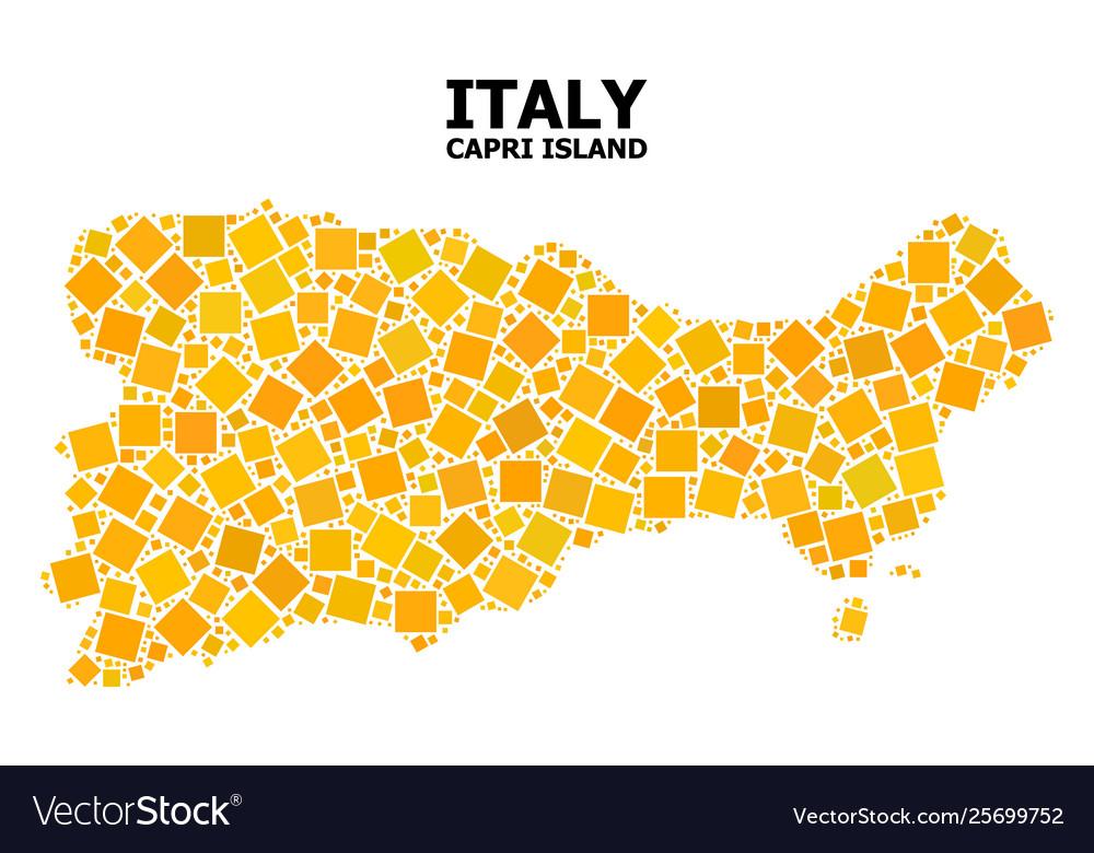 Gold rotated square mosaic map capri island on