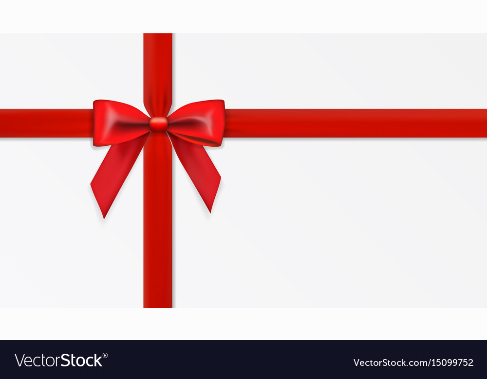 Greeting card with realistic red bow template vector image
