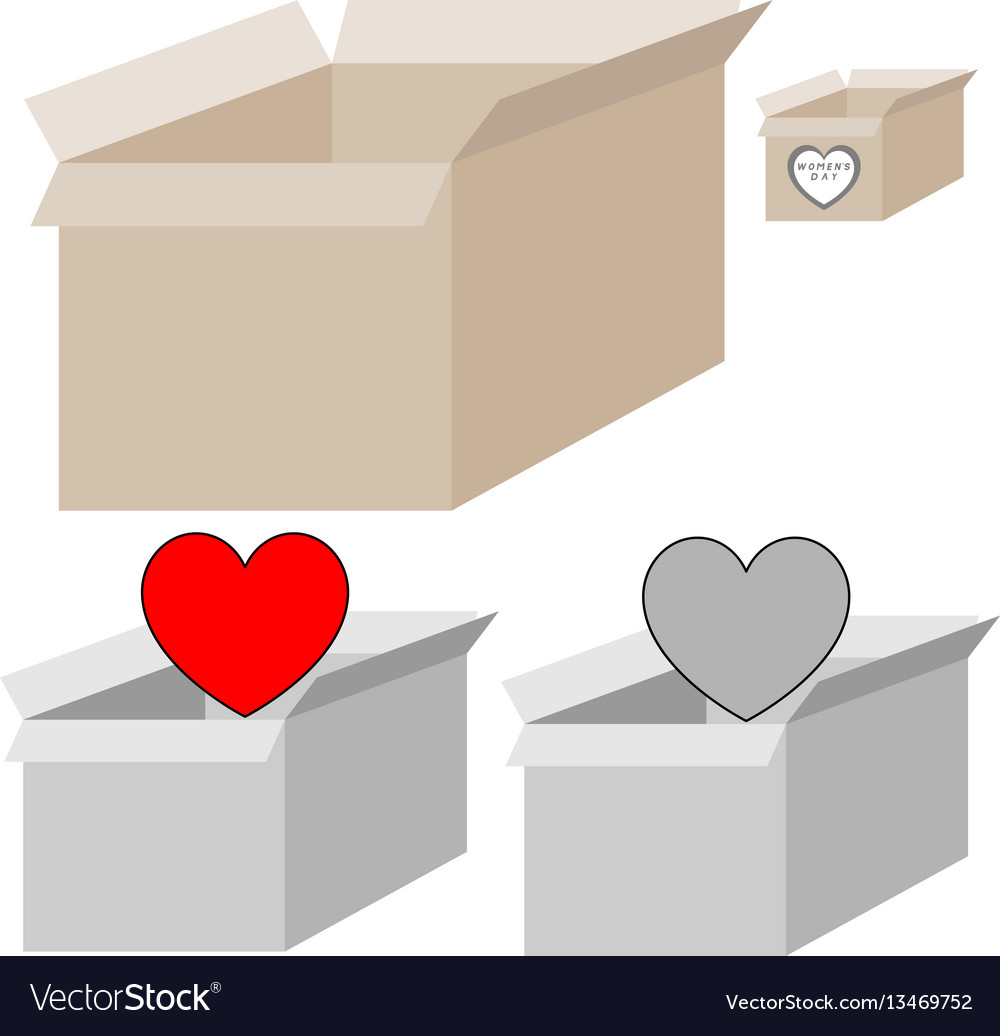 Grey and light brown present box with heart for
