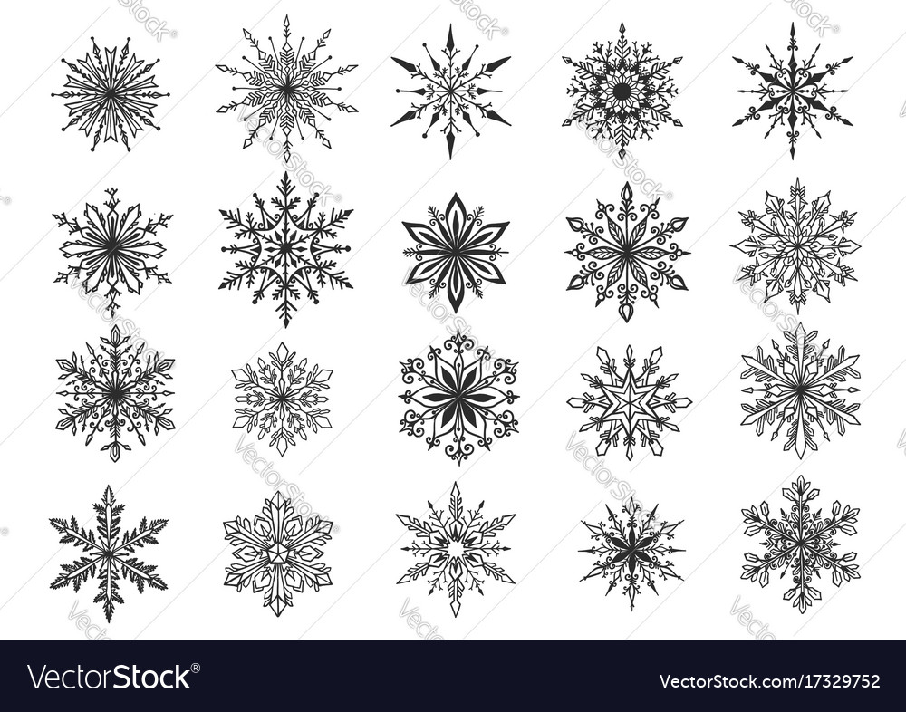 hand drawn snowflake royalty free vector image rh vectorstock com snowflake background vector snowflake vector free
