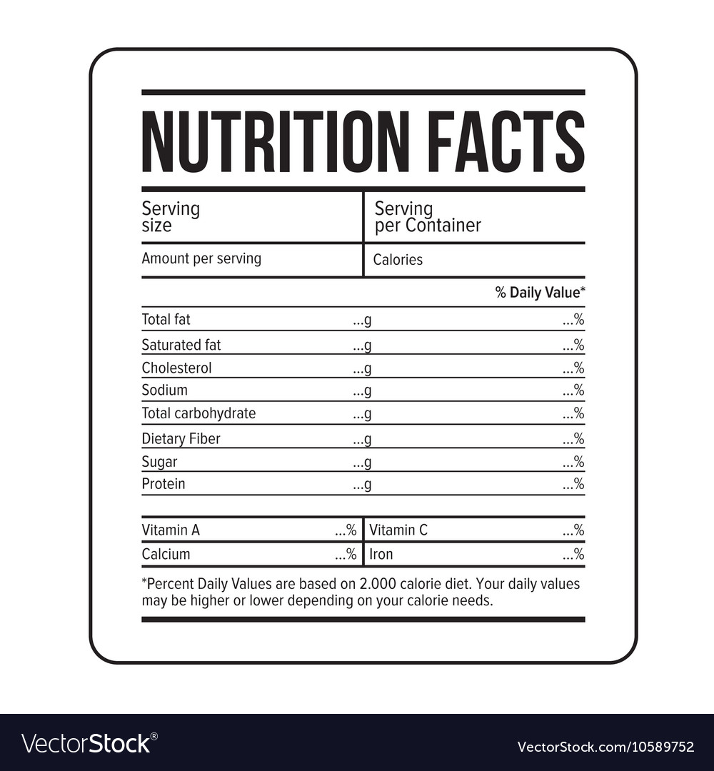 nutrition facts label template royalty free vector image