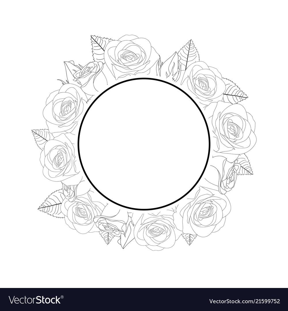 Rose Flower Banner Wreath Outline Royalty Free Vector Image