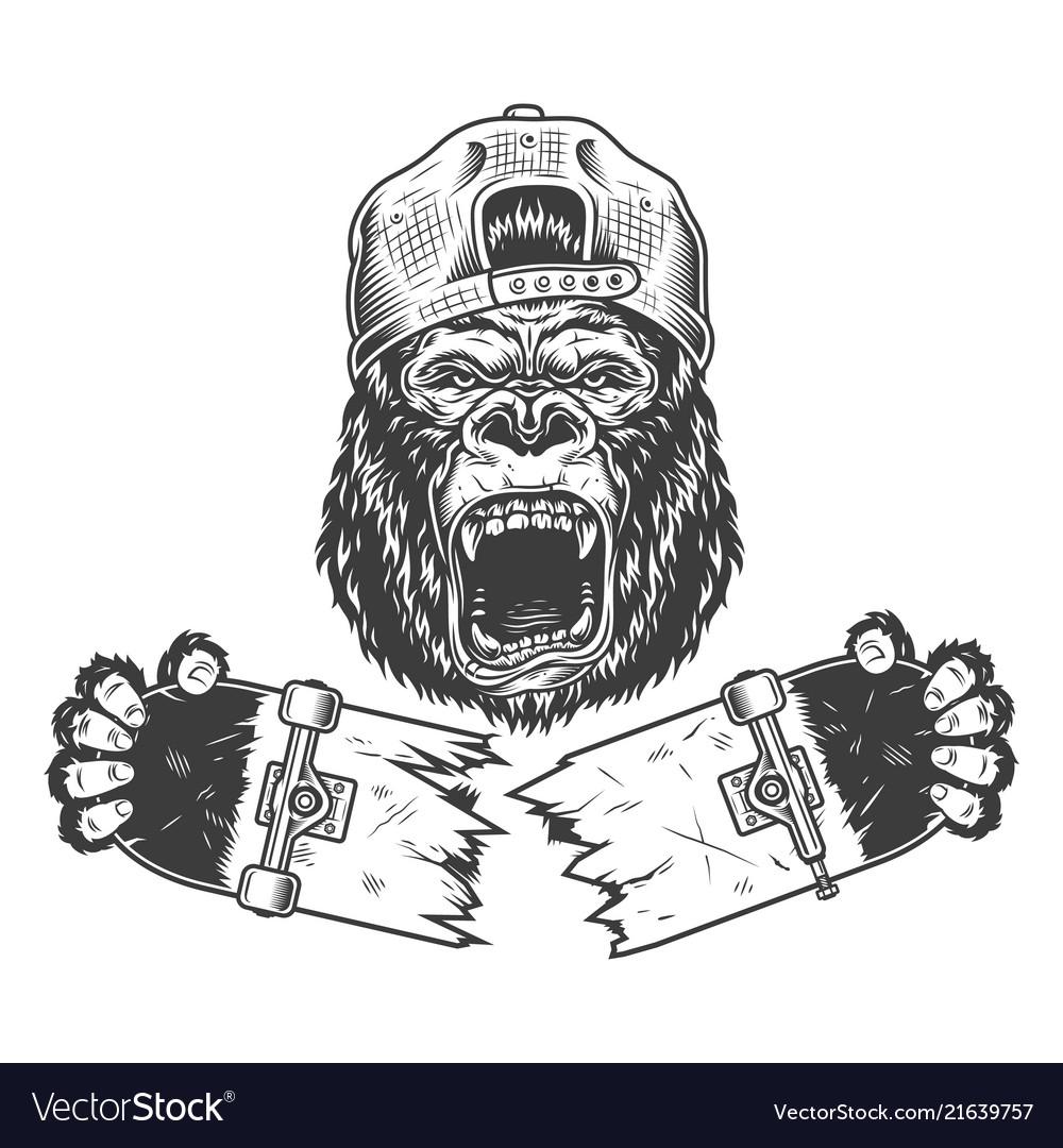 Angry gorilla cracked skateboard