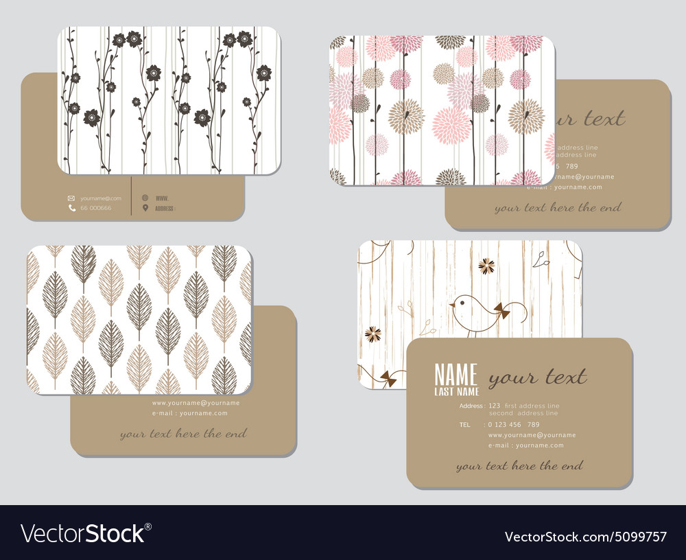 Business card template wedding style ill