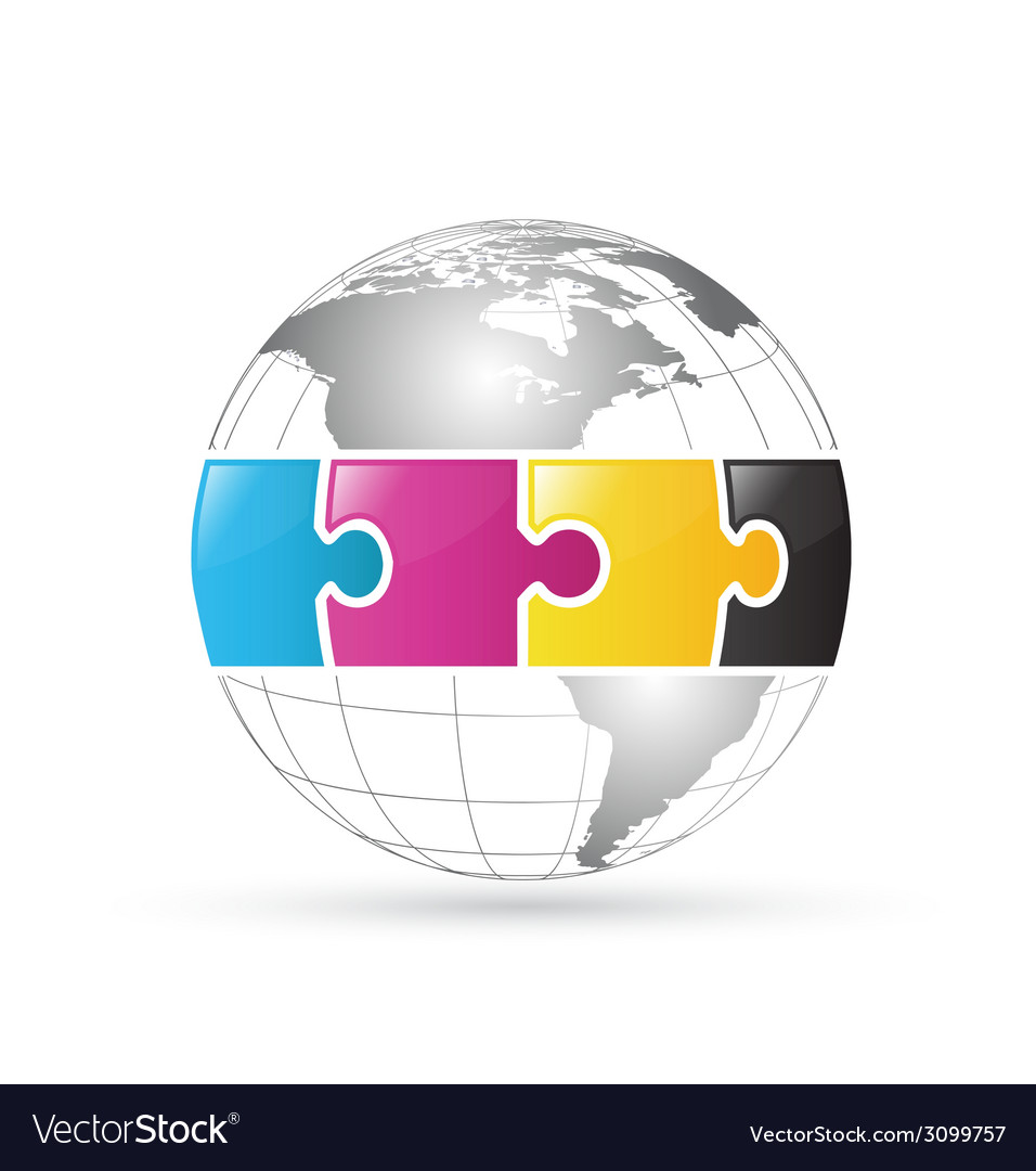 CMYK world globe vector image