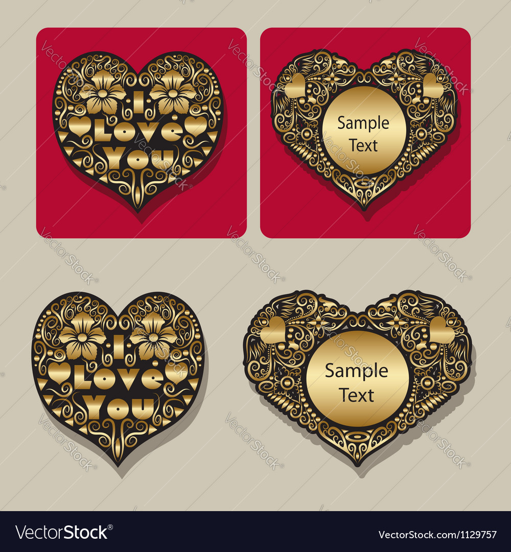 Golden heart floral ornament icons