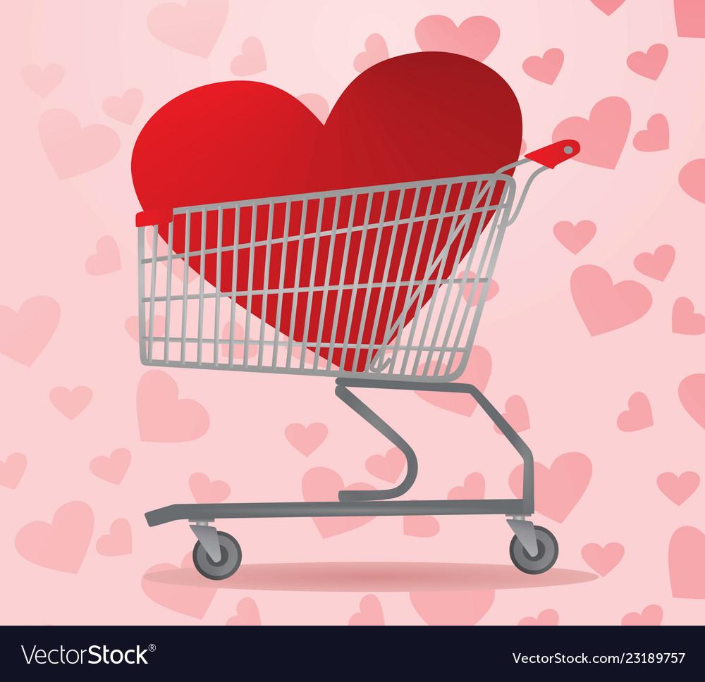 Heart inside shopping cart