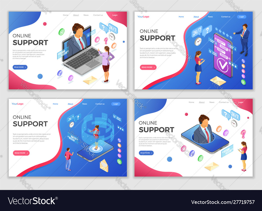Isometric online customer support templates