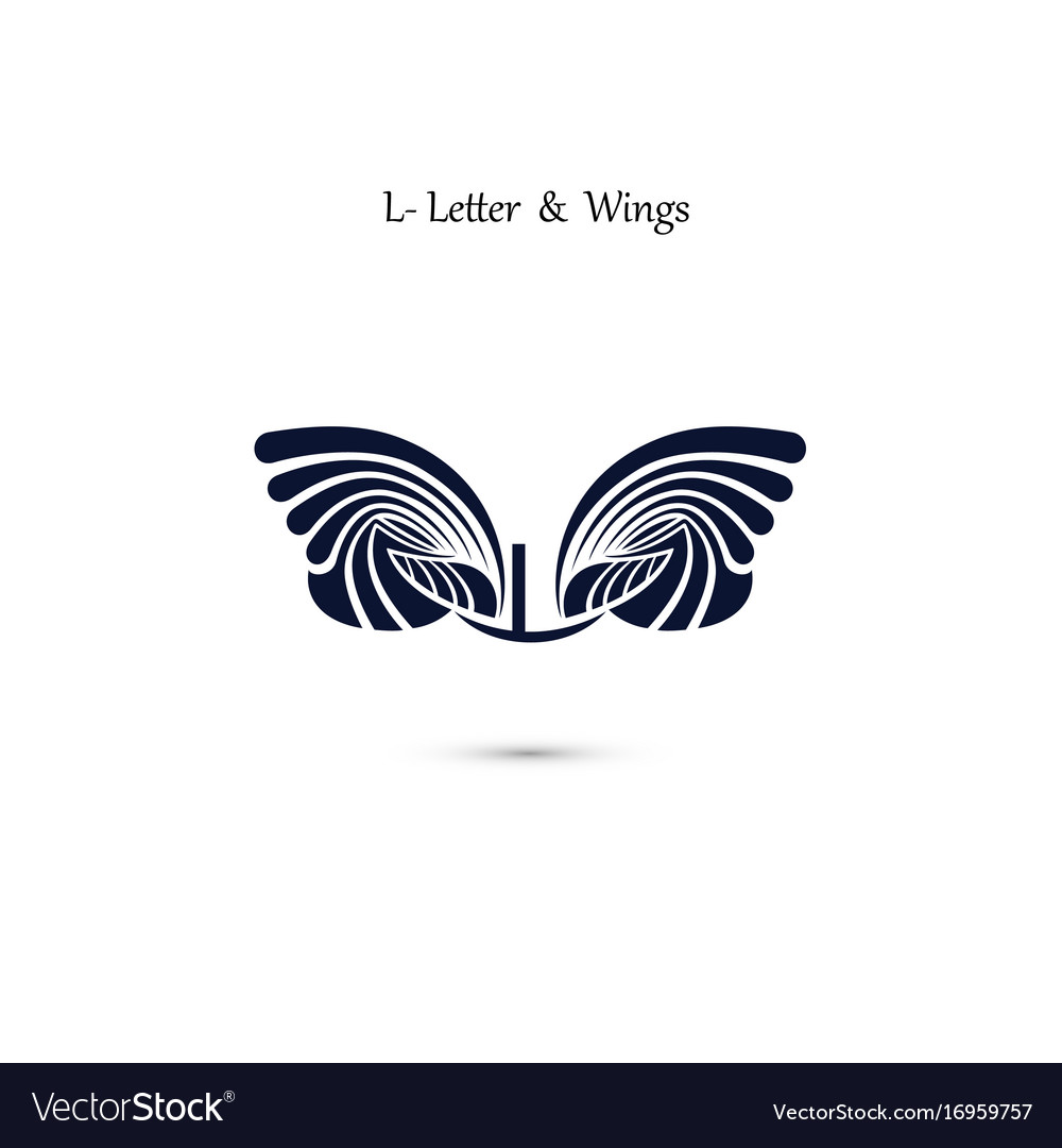 L letter sign and angel wings monogram wing logo