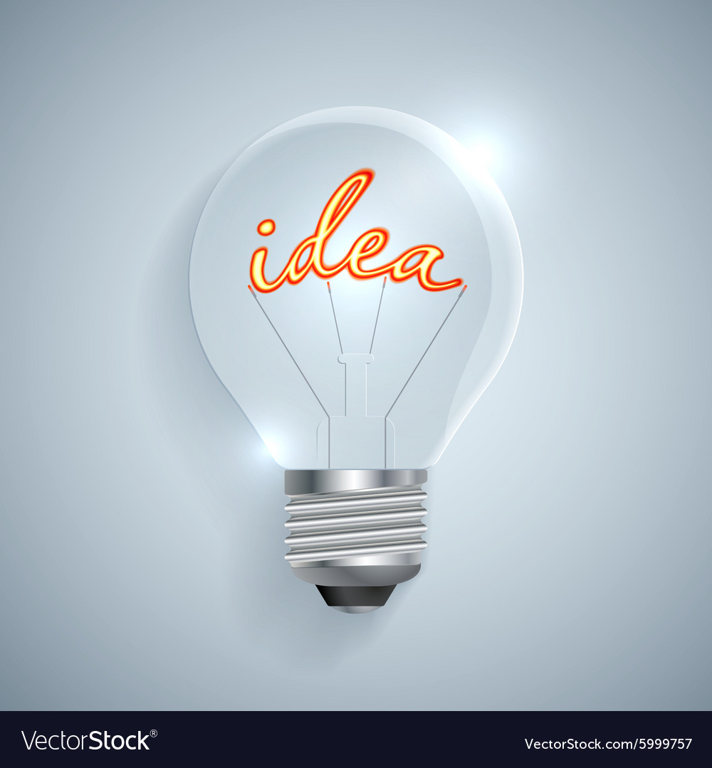 Lightbulb with Idea sign on a light background