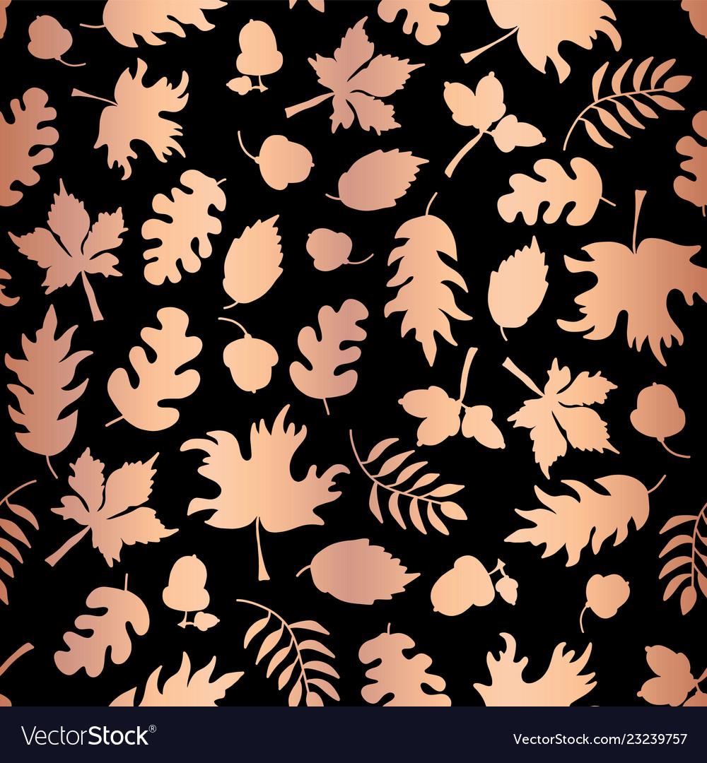 Rose gold foil autumn leaf silhouettes seamless