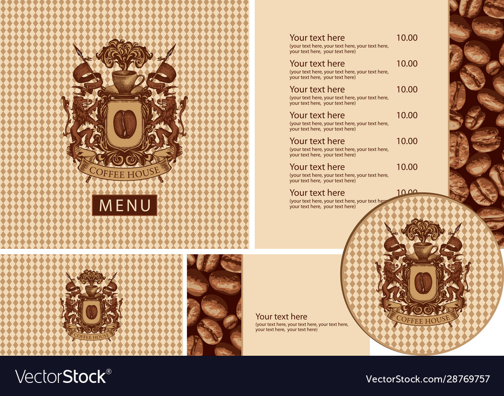 Set design elements for coffee house with menu