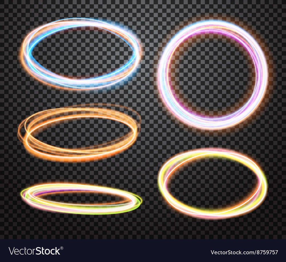Set of glowing transparent circles Light effects vector image