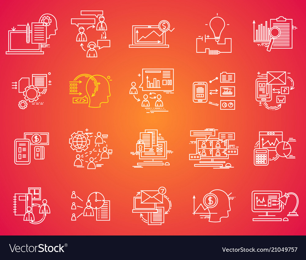 Thin line icons set business elements