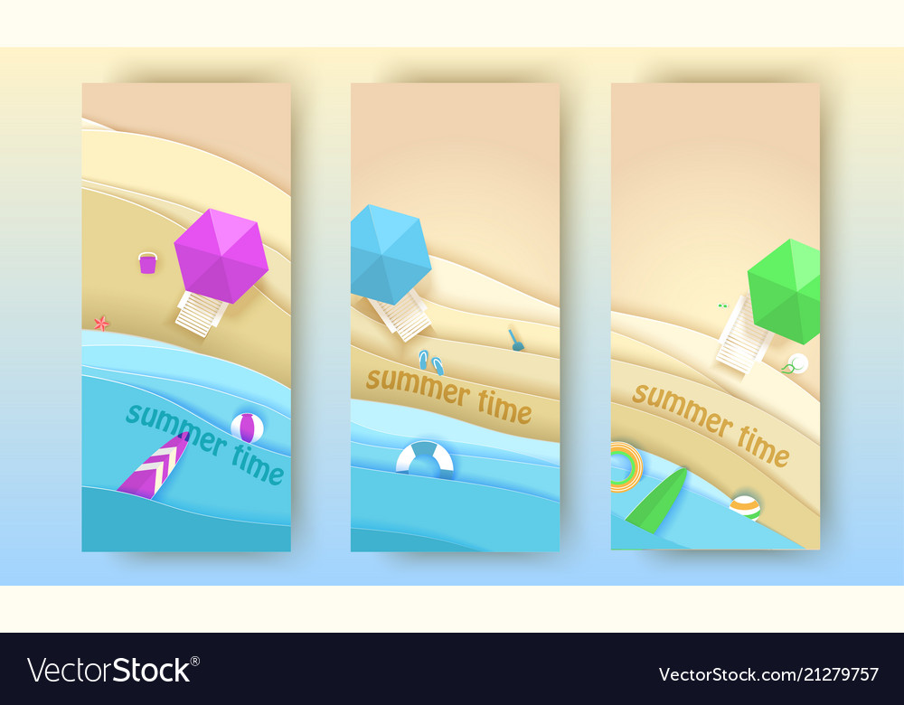Tropical beach banners set in paper art style vector