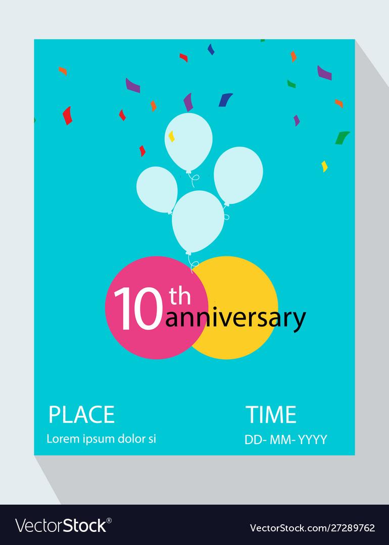 10th years anniversary invitation design