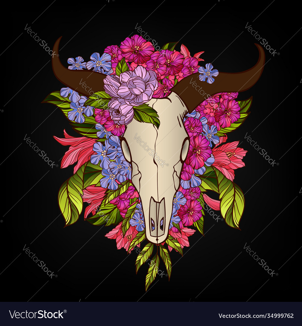 Bull skull decorated with flowers tattoo or