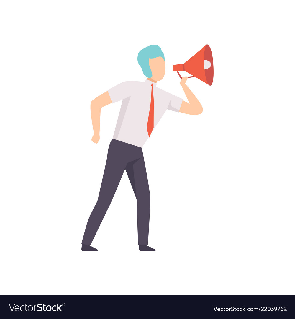 Businessman with a megaphone successful business