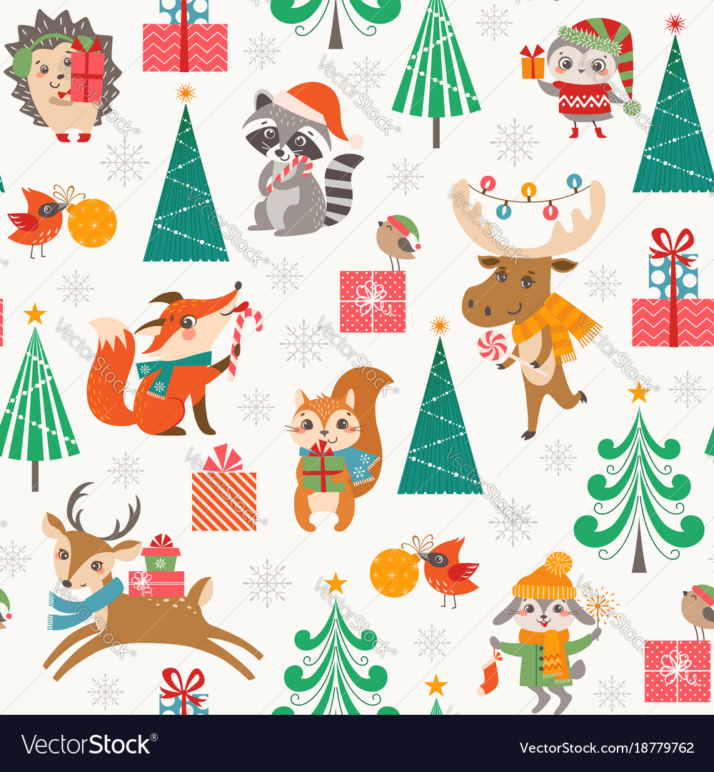 Cute christmas woodland pattern with happy